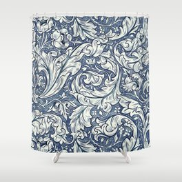 William Morris Navy Blue Botanical Pattern 3 Shower Curtain