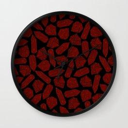 Garnet Stones - January Birthstones Deep Red Crystal on Black Wall Clock