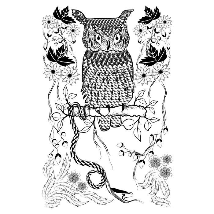 Jungle Owl and Snake Duvet Cover