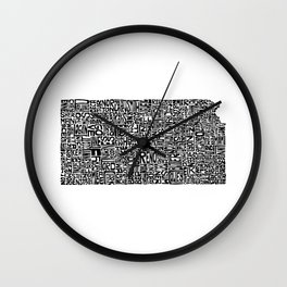 Typographic Kansas Wall Clock