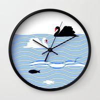 black swan Wall Clocks featuring Black Swan White Swan by Studio Su