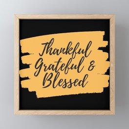 Thankful, Grateful and Blessed in Orange Framed Mini Art Print