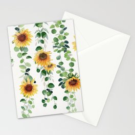 Eucalyptus and Sunflowers Garland  Stationery Cards