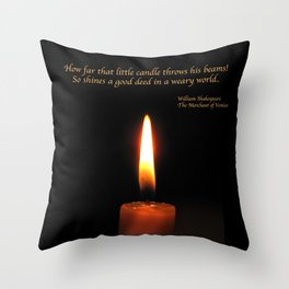 Shakespeare Candle Flame Throw Pillow