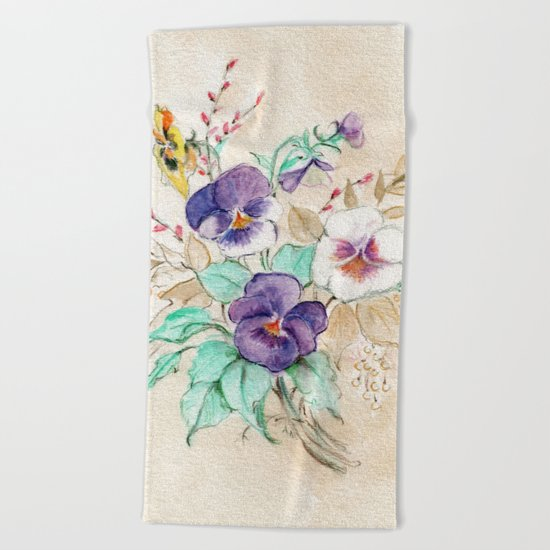 Pansies Bouquet Beach Towel