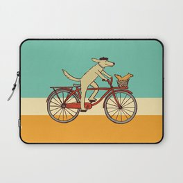 Cycling Dog with Squirrel Friend Laptop Sleeve