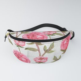 Pink Peonies On White Chalkboard Fanny Pack