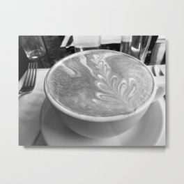"""""""For The Love Of Latte, B&W"""" Coffee Photography, Food Photo Metal Print"""