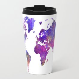 World map in watercolor  Travel Mug