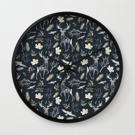 Deer and birds. Dark pattern Wall Clock