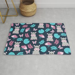 Cute Pink Teal Hippo Floral Butterfly Lily Pad Rug