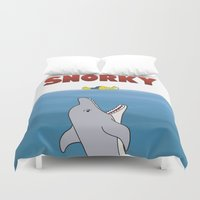 jaws Duvet Covers featuring Snorky Jaws. by Agu Luque