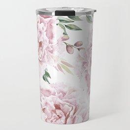 Pretty Pink Roses Floral Garden Travel Mug