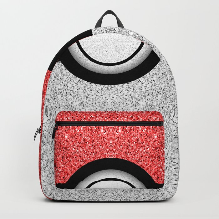Sparkly red and silver sparkles poke ball Backpack