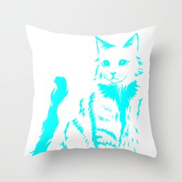 Cat Outline Feline House Kitty Pussy Mouser Gift Throw Pillow