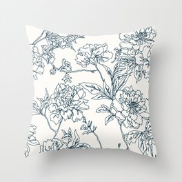 Navy and Cream Vintage Chinoiserie Botanical Floral Toile Wallpaper Pattern Throw Pillow
