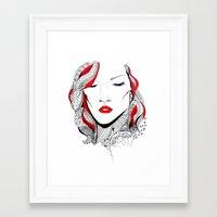 rihanna Framed Art Prints featuring Rihanna  by Ina Spasova puzzle