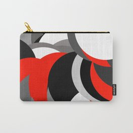 black white grey red geometric digital art Carry-All Pouch