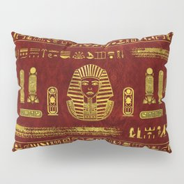 Golden Egyptian Sphinx on red leather Pillow Sham