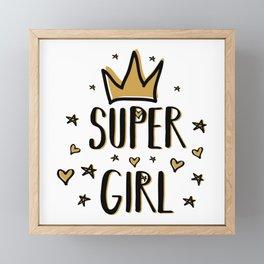 Super girl - funny humor phrases typography illustration Framed Mini Art Print