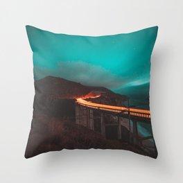 Bixby Bridge Light Trail Throw Pillow