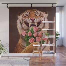 Smiling (shy) Tiger - holding bouquet (rose) Wall Mural