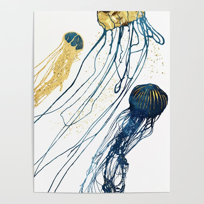 Metallic Jellyfish II Poster