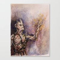 groot Canvas Prints featuring Groot by Sallygipsypunk