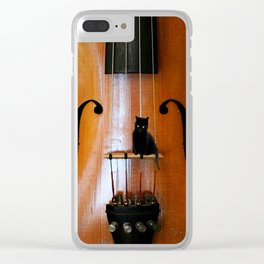 Black Cat And Violin #decor #society6 Clear iPhone Case