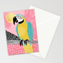 Holy Moly - memphis throwback retro neon bird macaw tropical island pop art bird watching 1980s Stationery Cards