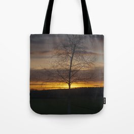 Sunset at the end of town Tote Bag