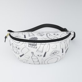Black hand drawn ratatouille sketched pattern Fanny Pack