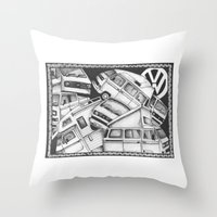 volkswagen Throw Pillows featuring Volkswagen Campervans by Squidoodle