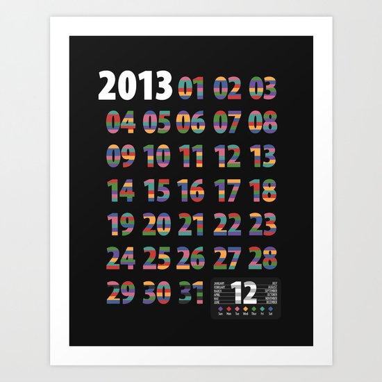 Minimalist Calendar 2013 (Dark version) Art Print