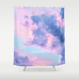Pastel Purple Lilac Fluffy Fantasy Fairytale Sunset Clouds In The Sky Shower Curtain