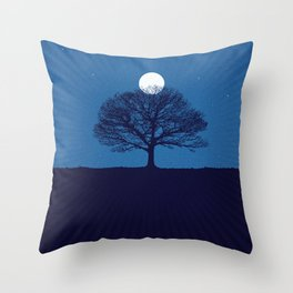 Moonrise of a winter tree Throw Pillow