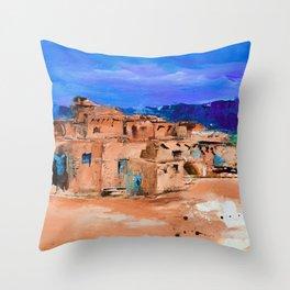Taos Pueblo Village Throw Pillow