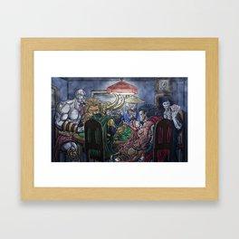 Gods Playing Poker Framed Art Print