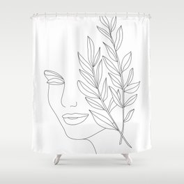 Minimal Line Art Woman Face Shower Curtain