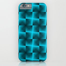Rotated rhombuses of light blue crosses with shiny intersections. iPhone Case