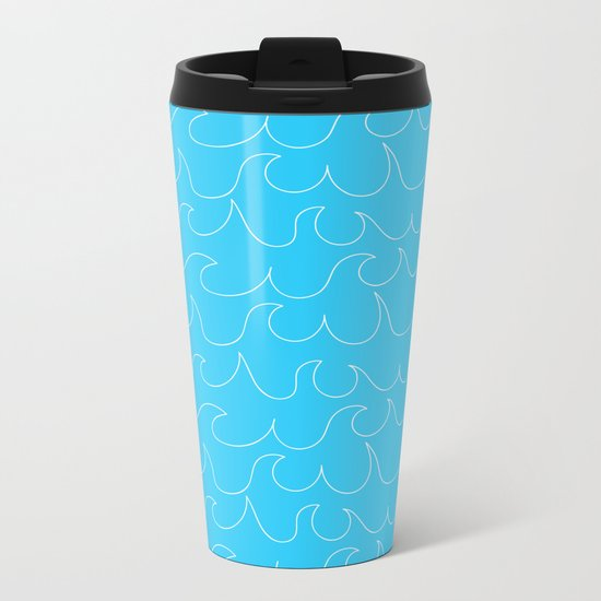 Simple white handrawn waves on aqua - for your summer on #Society6 Metal Travel Mug