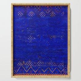 -A5- Royal Calm Blue Bohemian Moroccan Artwork. Serving Tray