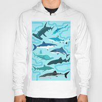 sharks Hoodies featuring Sharks by Raffles Bizarre