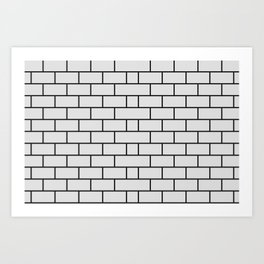 Brick wall texture black and white Art Print