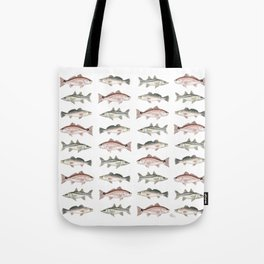 Pattern: Inshore Slam ~ Redfish, Snook, Trout by Amber Marine ~ (Copyright 2013) Tote Bag
