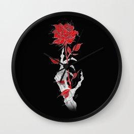 Rosa negra Fondo rojo esqueleto mano esqueleto ilustración arte diseño joik Wall Clock