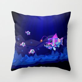 Anglerfish, lie and bioluminescence Throw Pillow
