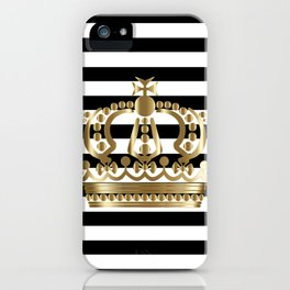 Black and White Stripes and Gold Crown 1 iPhone Case
