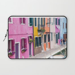 Hot Pink Houses in Burano, Italy Laptop Sleeve