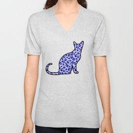 Blue Leopard-Print Cat Silhouette Unisex V-Neck